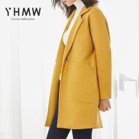 YHMW茧型毛呢大衣女中长款2018冬韩版夹棉加厚呢子外套