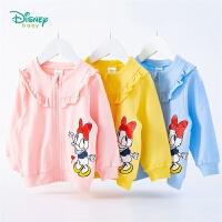 迪士尼Disney童�b 女童花��c�Y外套迪斯尼黛�z�h保印染上衣春季新品�棉衣服201S1331