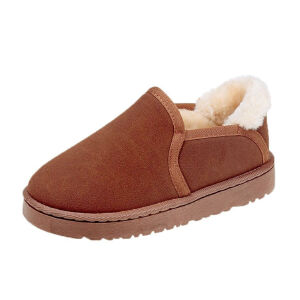 WARORWAR新品YM128-810冬季韩版磨砂牛皮反绒皮真皮平底舒适女士雪地靴