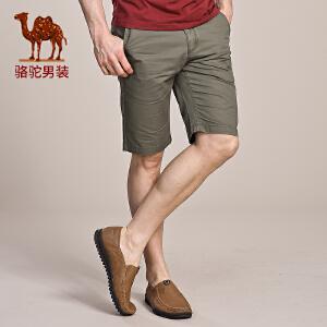 骆驼男装 夏装中腰休闲短裤下装 纯棉修身中裤五分裤男