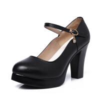 模特旗袍鞋白色粗跟尖头高跟单鞋真皮走秀T台舞鞋大码40-43码女鞋 黑色 跟高6cm