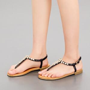 依思q夏季新款凉鞋女休闲简约水钻夹趾平跟低跟女鞋