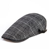 贝雷帽男士新款休闲帽子 格子画家文艺男青年潮帽鸭舌帽前进帽潮 可调节(55到60cm)