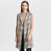 羊毛混纺MECITY女装早秋新款时尚无袖格纹马夹