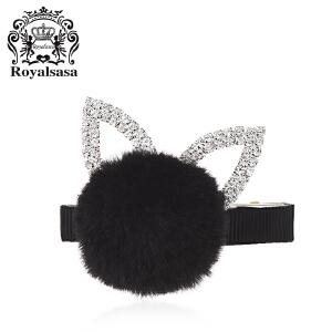 皇家莎莎新款可爱毛球装饰发饰发夹甜美可爱风侧夹边夹盘发刘海夹