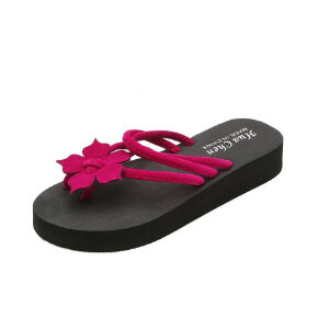 ELEISE美国艾蕾莎新品113-T9935韩版磨砂绒面平跟花朵女士凉拖鞋