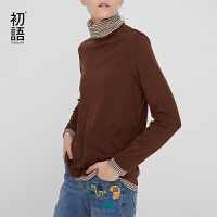 初语韩版修身中高领打底衫上衣女秋装新款长袖冬季内搭T恤衫