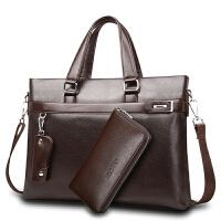 加厚男包手提包横款公文皮包商务休闲单肩斜挎男士包包潮 小号黑色 单包