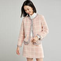 【清仓269元】仿貂绒格子套装女小个子冬2019新款显高裙子两件套