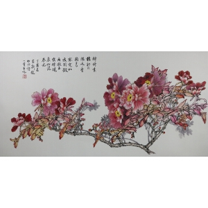 山东知名画家 王jin新 双勾mu dan 【晨妆 】已托,四尺。品如图。