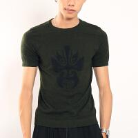 春秋季男士短袖针织衫青年个性圆领打底衫韩版潮流男修身半袖毛衣 墨绿色 003款