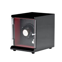 进口摇表器摇摆盒机械表自动上链盒手表上弦器晃表器旋转表盒 红色 外黑 内红黑碳纤
