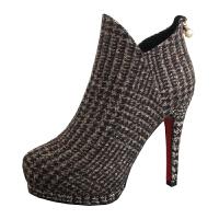 欧美时尚短靴女秋冬新款女人味细跟高跟鞋气质短筒靴防水台马丁靴