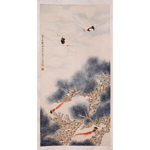 著名画家   郑乃��、刘力上合作《松寿遐龄图》