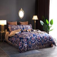 贝赛亚四件套 纯棉提花转印花双人加大床品四件套 蔓格林-蓝