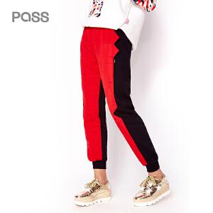 【不退不换】PASS潮牌女装秋冬新品双色拼接哈伦裤时尚运动小脚裤加厚