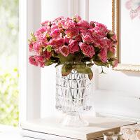 奇居良品 整体花艺水晶玻璃璀璨花瓶配玛利亚玫瑰花束仿真花