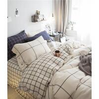 ins北欧风简约蓝白格四件套全棉华夫格婴儿床单被套1.8m床上用品
