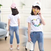 女童夏装新款套装洋气时髦儿童夏季短袖七分牛仔裤两件套韩版