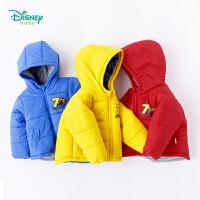 迪士尼Disney童装 男童外套秋冬新品夹棉保暖外出服宝宝前开扣防风连帽加绒上衣184S1014