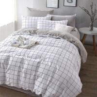 简约四件套全棉纯棉床单被罩被套大学生宿舍单人三件套床上用品4 冷灰 四件套床单款-2.0m(6.6英尺)【适合220X