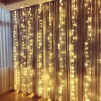 LED网红星星彩灯闪灯串灯满天星浪漫房间装饰瀑布窗帘卧室少女心