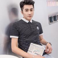 短袖t恤男 夏季小翻领韩版潮流青年纯棉修身保罗衬衫领条纹polo衫