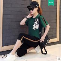 时尚大码运动套装女 韩版新款潮时尚亮片绣短袖七分裤宽松显瘦休闲两件套