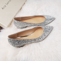 婚鞋女银色亮片高跟鞋孕妇大码尖头粗跟中跟水晶单鞋新娘伴娘鞋