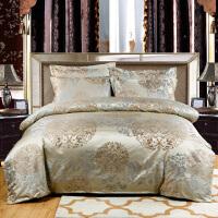 大红婚庆床上用品四件套 欧式贡缎提花四件套豪华床品件套
