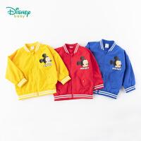 【2.25号秒杀价:85】迪士尼Disney童装 男童外套时尚前开夹克春季新款萌趣米奇印花上衣儿童撞色罗纹衣服