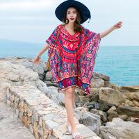 2018夏季新款沙滩裙海边度假宽松印花雪纺连衣裙波西米亚短裙 图片色 均码
