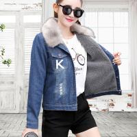 冬季加厚加棉衣修身韩版羊羔毛牛仔加绒长袖短款外套女装新款