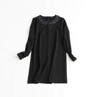 黑色连衣裙 娃娃领长袖针织加厚a字中裙45S