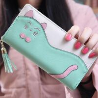 韩版流苏钱包卡通可爱猫咪女士两折长款拉链钱包钱夹卡包 薄荷绿