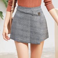 半身裙秋冬新款格子a字短裤女不规则高腰短裙裤女