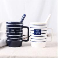 情侣杯子一对家用水杯创意办公室陶瓷牛奶咖啡杯马克杯带盖勺