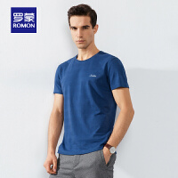 【单品限时秒杀价:74】男士短袖T恤衫2020夏季新款纯色提花t恤中青年时尚圆领打底衫