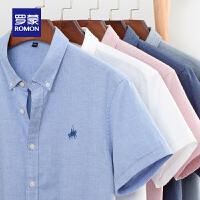 Romon/罗蒙短袖衬衫100%纯棉2020夏季新款中青年男士休闲工装衬衣免烫职业装