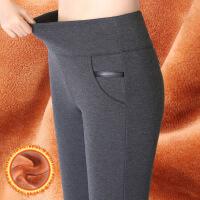 加绒裤女外穿高腰加厚长裤保暖弹力显瘦大码羊羔绒一体打底裤秋冬