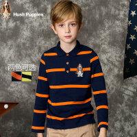 【3件3折:89.001元】暇步士男童新款秋装中大童polo衫长袖t恤儿童翻领条纹T恤