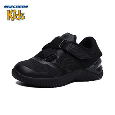 斯凯奇童鞋 (SKECHERS)新款菱形图案男童运动鞋 魔术贴童鞋男 防滑儿童鞋男 Z型搭带运动鞋97755L-BBK0 全黑色(4岁—12岁以上)斯凯奇秋季新款