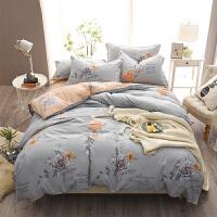 床上 纯棉四件套150x200x230双人秋冬床单被套被罩180x220x240