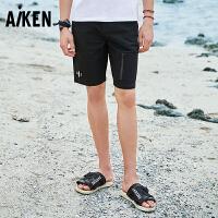 【一件三折】森马旗下Aiken爱肯短裤夏季春夏新款运动休闲黑男运动小休闲中裤