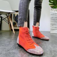 韩版春季绒面水钻满钻系带加绒短靴雪地棉靴买马丁靴平底鞋女鞋潮