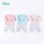 【129元3件】迪士尼Disney童装婴儿衣服 秋季新款迪斯尼女童内衣套装纯棉开衫新生儿绑带家居服183T810