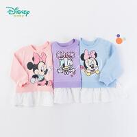 【2件3折到手价:49.5】迪士尼Disney童装女宝宝甜美花边卫衣秋季新品米妮卡通T恤纯棉透气长袖193S1249