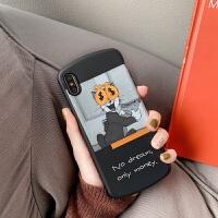 P苹果X手机壳iphone7汤姆猫XR搞怪XSMAX插画8plus黑iphoneXMax怀旧6s磨砂 / 钱袋蒙眼猫