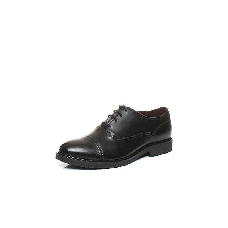 Tata/他她秋牛皮经典商务系带方跟男皮鞋F6N22CM6