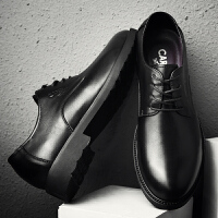 卡帝乐鳄鱼 休闲皮鞋男2018秋季真皮系带黑色男鞋 商务皮鞋男头层牛皮